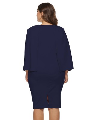 Invigorative Purplish Blue Bodycon Dress Queen Size Round Neck Soft