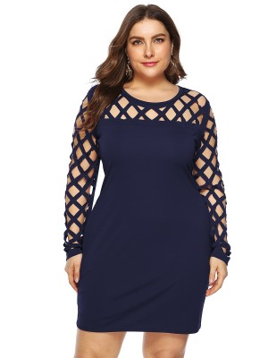 Purplish Blue Long Sleeve Cutout Large Size Dress Feminine Curve