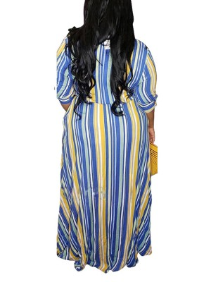 Elegant Sky Blue Turndown Neck Maxi Dress Half Sleeve Girls Fashion