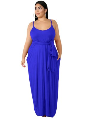 Slimming Royal Blue Big Size Maxi Dress Solid Color New Fashion