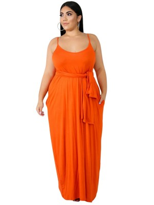 Glam Orange Sleeveless Solid Color Maxi Dress Understated Design