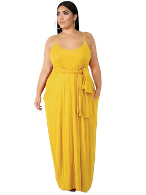 Super Sleek Yellow Queen Size Dress Plunge Neck Pocket Natural Fit