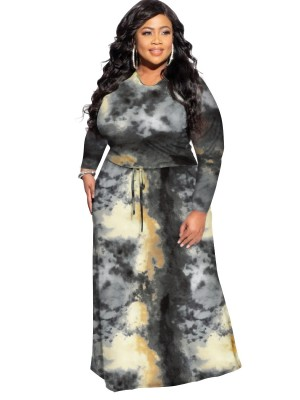 Black Plus Size Maxi Dress Tid-Dyed Printed Comfort Fabric