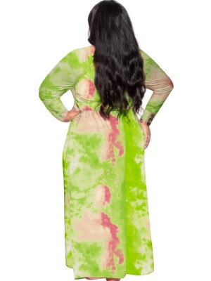 Green Waist Tie Tie-Dyed Dress Large Size For Sexy Women