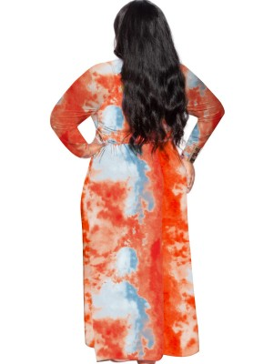 Red Tie-Dyed Long Sleeve Big Size Dress Ladies Elegance