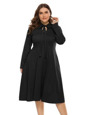 Slinky Black Tie Large Size Dress Long-Sleeved For Women