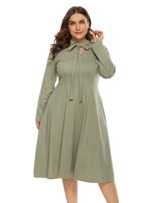 Energetic Green Full Sleeve Plus Size Dress Plain Feminine