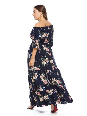 Summer Glow Purplish Blue Large Size Off-Shoulder Maxi Dress