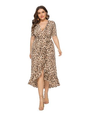 Appealing Brown V Collar Plus Size Dress Slit Ruffle Elasticity