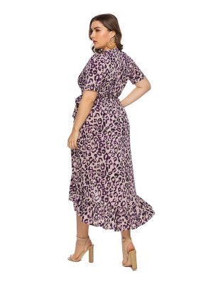 Feisty Purple Ruffle Queen Size Dress Short Sleeve High Elasticity
