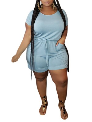 Casually Sky Blue Cut Out Drawstring Big Size Jumpsuit Svelte Style