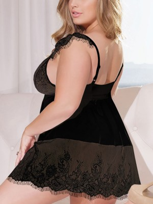 Vivid Flawless Black Plunge Collar Queen Size Babydoll At Great Prices‎