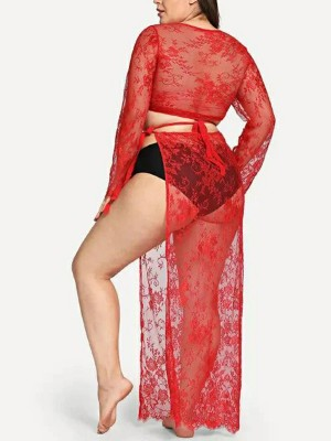Stretch Red Big Size Deep-V Top High Slit Skirt Vacation Time