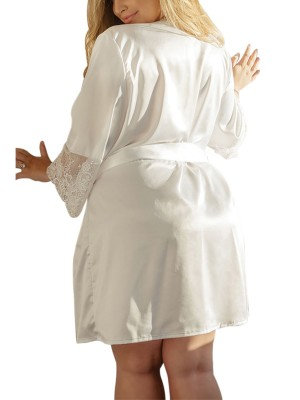 Well-Suited White Tie Waist Lace Big Size Nightgown Romantic Nightwear