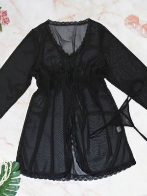 Stylish Black Sheer Mesh Big Size Dress Full Sleeve Comfortable