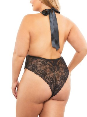 Alluring Black Backless Mesh Plus Size Teddy Lace Slimming Figure
