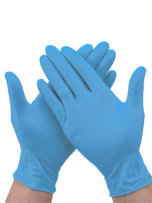 Faddish Blue 100Pcs Nitrile Disposable Gloves Powder-Free
