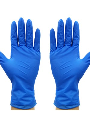 Portable Blue Disposable Gloves 100Pcs Non-Slip