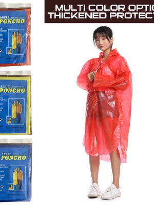 Essential Red Disposable Raincoats With Drawstring Long Sleeve