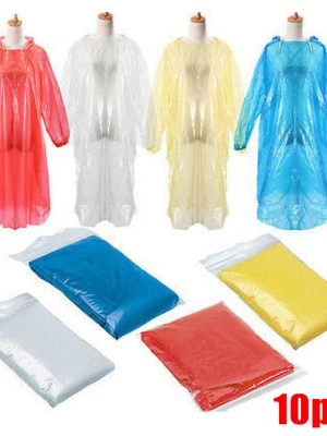 10Pcs Pullover Adult Disposable Raincoats Lightweight