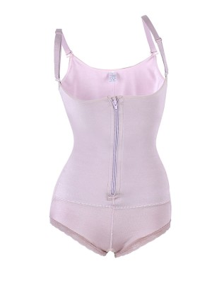 Pink Lacey Accent Zip Tummy Control Shapewear
