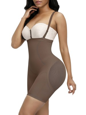 Instant-Slimmer Light Coffee Single Layer Straps Full Body Shaper Workout