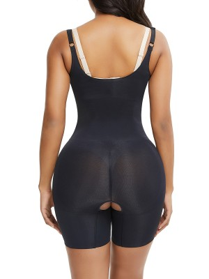 Instant-Slimmer Black Adjustable Strap Seamless Full Body Shaper Breathable