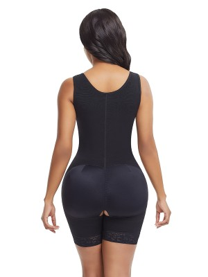 Hourglass Black Full Bodysuit Lace Trim Large Size Breath