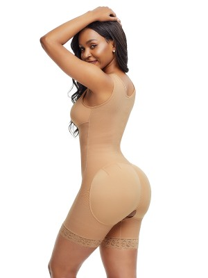 Sophisticated Skin Color Front Zipper Latex Bodysuit Big Size
