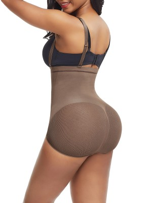 Light Coffee Color Sheer Mesh Panty Shapewear Open Crotch Midsection Control