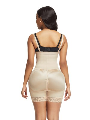 Curve Creator Skin Color Underbust Zipper Body Shaper Lace Trim