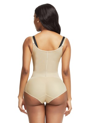 Skin Color Adjustable Straps Underbust Bodysuit High-Compression