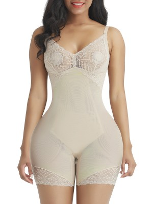 Hourglass Complexion Lace Trim Full Body Shaper Open Crotch