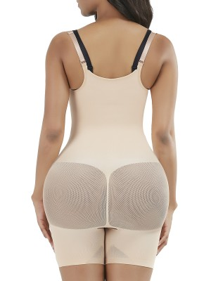 Skin Color 3 Rows Hooks Open Crotch Body Shaper Stretch