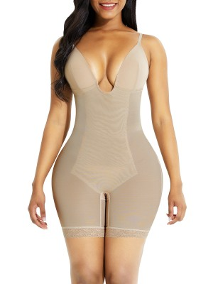 Skin Color Low Back Open Crotch Lace Body Shaper Workout