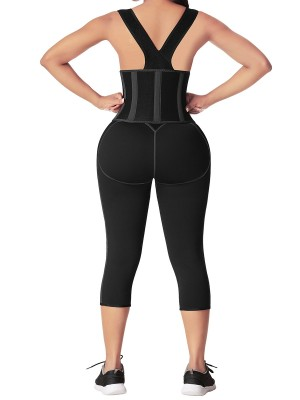 Black Neoprene Full Body Shaper Zipper With Adjustable Straps Fat Burning