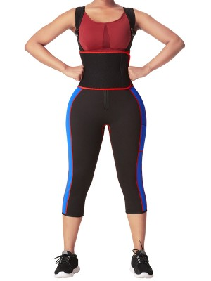 Blue Contrast Color Pockets Sticker Full Body Waist Trainer Weight Loss