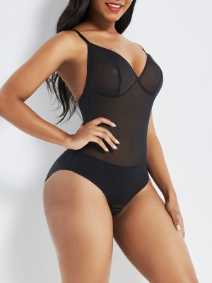 Black See Through Mesh Shapewear Thong Bodysuit Curve Shaping