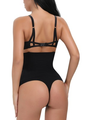 Seamless Black High-Waisted Panty Lifter 4 Plastic Bones