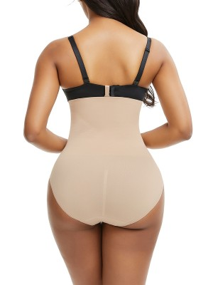 Close Fitting Skin Color Seamless Panty Solid Color Buckle Tummy Trimmer