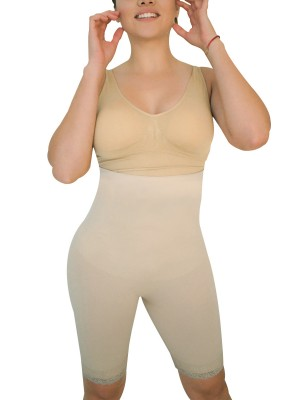 Slimmed Skin Color High Rise Shapewear Pants Plus Size Ladies