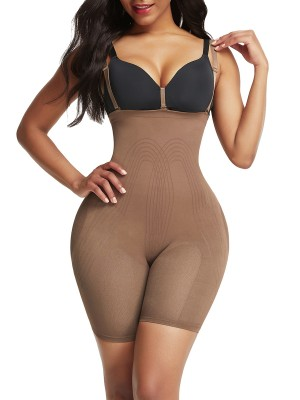 Chic Light Brown Adjustable Straps Butt Lifter Seamless Breathability