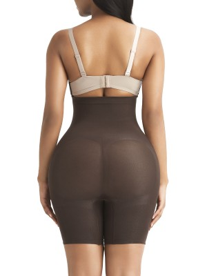 Abdominal Slimmer Dark Brown Seamless Buckle Butt Enhance Plus Size