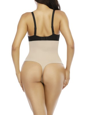 Skin Color Solid Color Three Clasps Panty Shaper Flatten Tummy