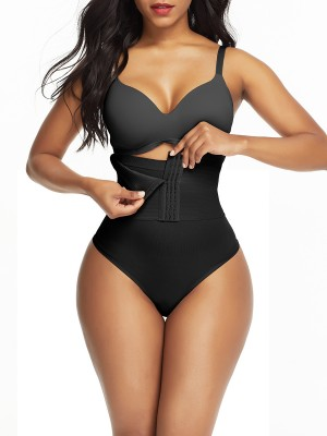 Black Seamless Shapewear Thong High Wsiat Slimming Tummy