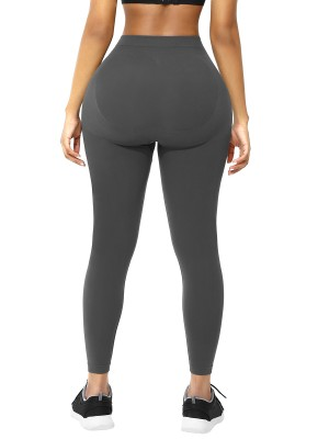 Gray Ankle Length Leggings Shaper Plus Size Slimming Legs