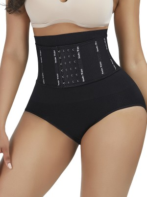 Weight Loss Black Seamless Shaper 4 Rows Hooks Letter Paint Waist Slimmer