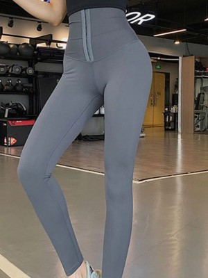 Gray Waist Trainer Leggings With Hooks Highest Compression
