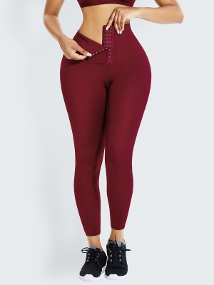 Wine Red High Waist Shaper Firm Control Leggings Figure Sculpting