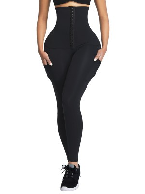 Black Shape Leggings High Waist 3 Hooks Pockets Basic Shaping